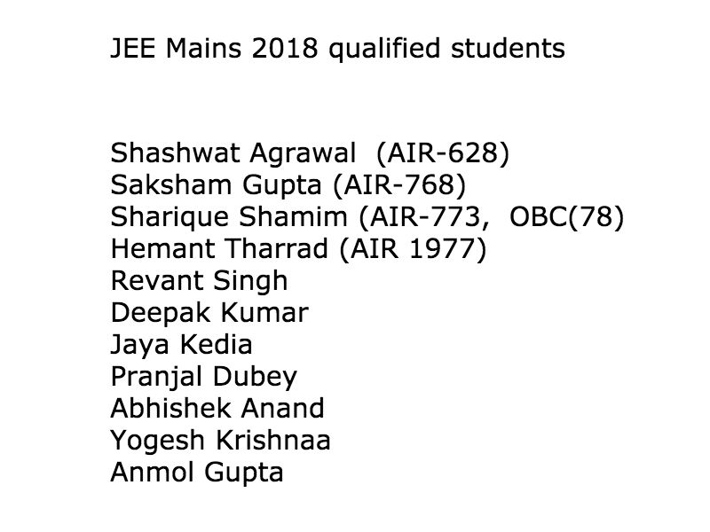 JEE MAINS 2018 qualified students list